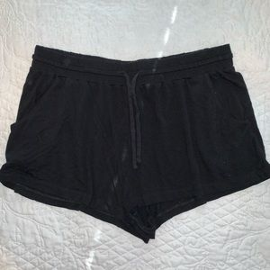 H&M black stretchy high waisted shorts with tie